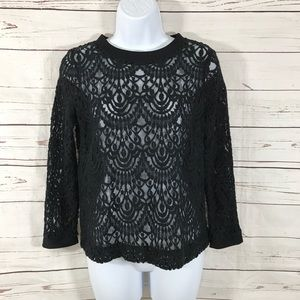 Banana Republic Lace Top Black See Through Size S